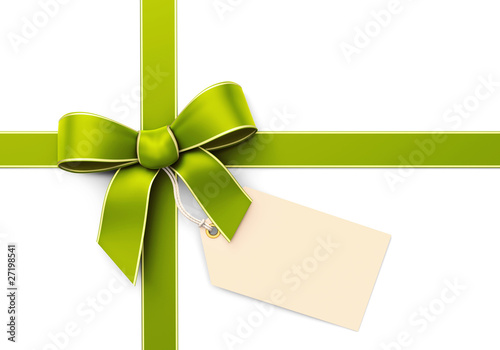 Green silk ribbon with blank tag