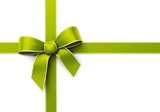 Present wrapped with green silk ribbon