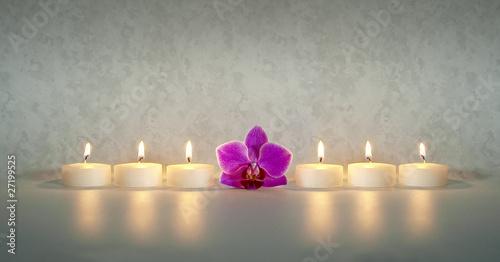 Fotobehang Vuur / Vlam Kerzen mit Orchidee