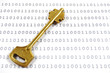 Golden key on a sheet with binary encrypted data