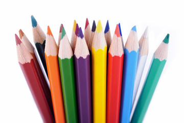 Set of colored pencils placed in random order