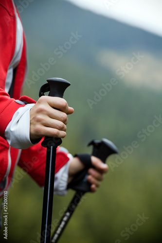 canvas print picture Nordic Walking in mountains