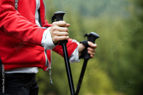 Leinwandbild Motiv Nordic Walking hands
