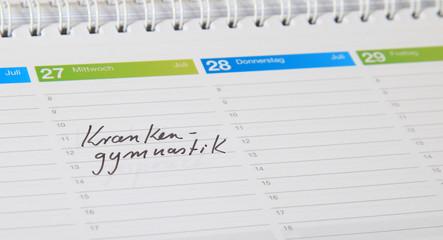 Kalendereintrag - Krankengymnastik.