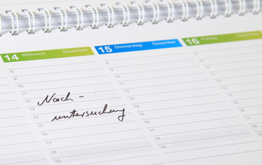 Kalendereintrag - Nachuntersuchung.