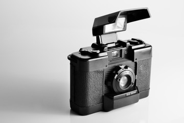 vintage camera with pop-up flash