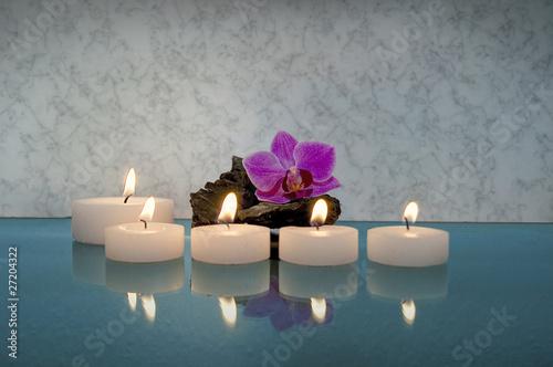 In de dag Vuur / Vlam Kerzen mit Orchidee