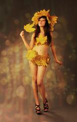 Girl wearing autumn leaves.
