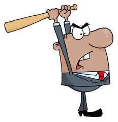 Angry African American Businessman With Baseball Bat