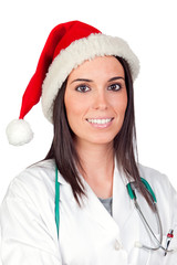 Attractive doctor woman with Christmas cup
