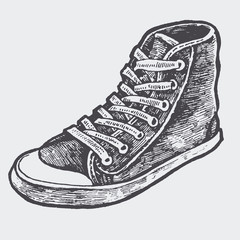sneakers. sketch style. vector illustration