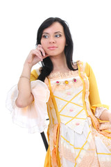 woman in yellow medieval dress over white