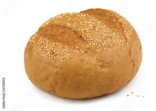 Fresh baked sesame bun isolated on white