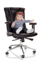baby boss wants to earn a little bit more money, isolated on whi