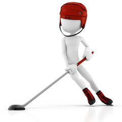 3d man hockey player