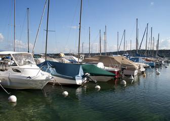 Boats on a mooring of lake of Geneva in Geneva