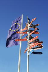 Europaflagge mit Wegweiser zu Hauptstädten in Europa
