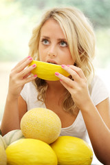 Teenage Girl Eating Melon. Model Released