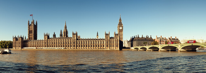 Panoramic picture of  Houses of Parliament, London.