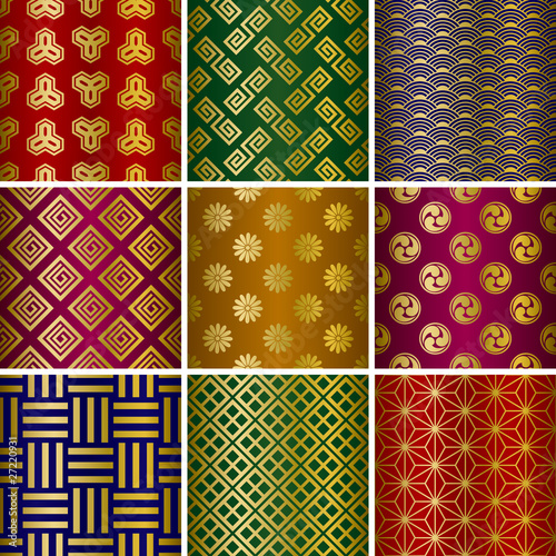 Abstract seamless japanese traditional patterns set