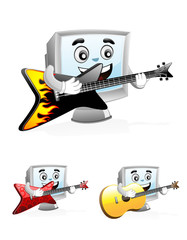 Computer Mascot - Playing Guitar