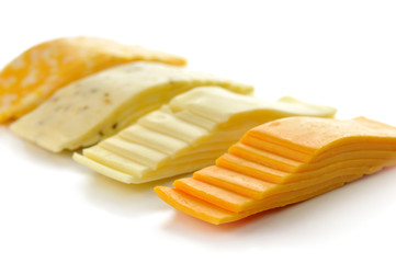 cheese tray slices isolated on white