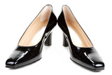 Black feminine varnished loafers poster