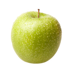 Green apple with drops isolated
