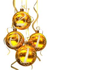 Christmas balls 2011 on white background 3D rendering