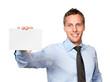 Mann mit weißer Visitenkarte
