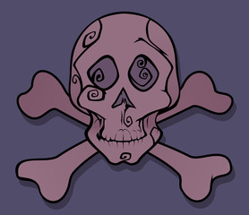 pink skull with bones graphic art