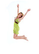 Beautiful 20s girl jumping, isolated