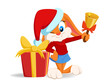 Cartoon funny rabbit with christmas hat and gift box.