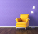Fototapety yellow armchair on violet wall