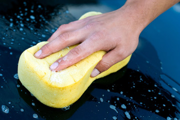 Car Hand Wash with Yellow Sponge and Soap