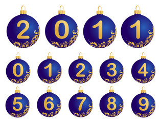 Blue Christmas Balls with numerals 0-9