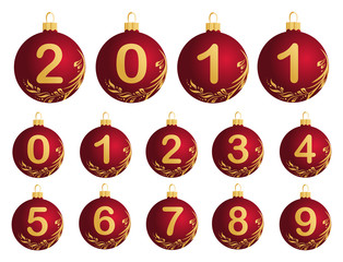Red Christmas Balls with numerals 0-9