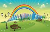 Fototapety Park with rainbow. Funny cartoon and vector scene.