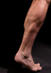 male athlete's calf muscles