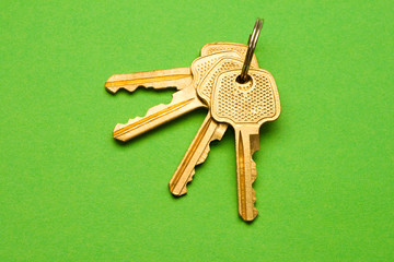 Keys isolated on green