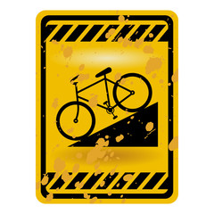Downhill bicycle sign isolated over white