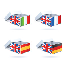 flag boxes for english language schools