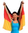 Frau jubelt mit deutscher Flagge