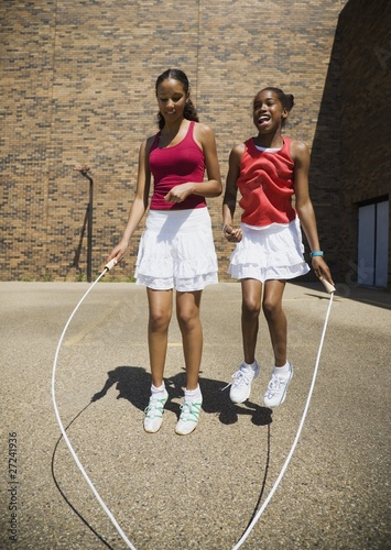 Girls Jumping Rope Together