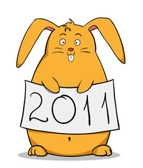 Funny cartoon fat rabbit with new year poster