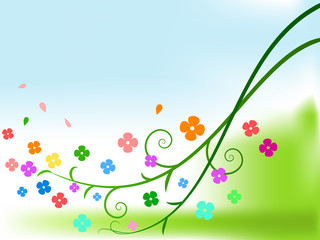 Abstract color flowers with curly branches