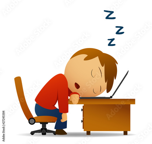 Vector image. Man sleeping at work table over laptop