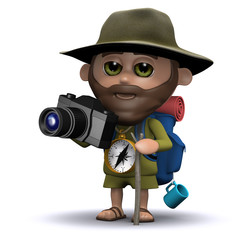 3d Explorer takes a photo of his discovery