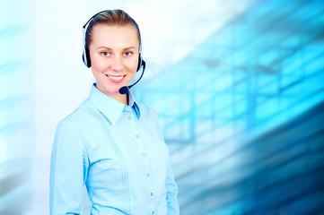 Happiness businesswoman speak in headphones on blur business arc