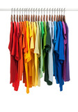 Fototapety Colors of rainbow, shirts on wooden hangers